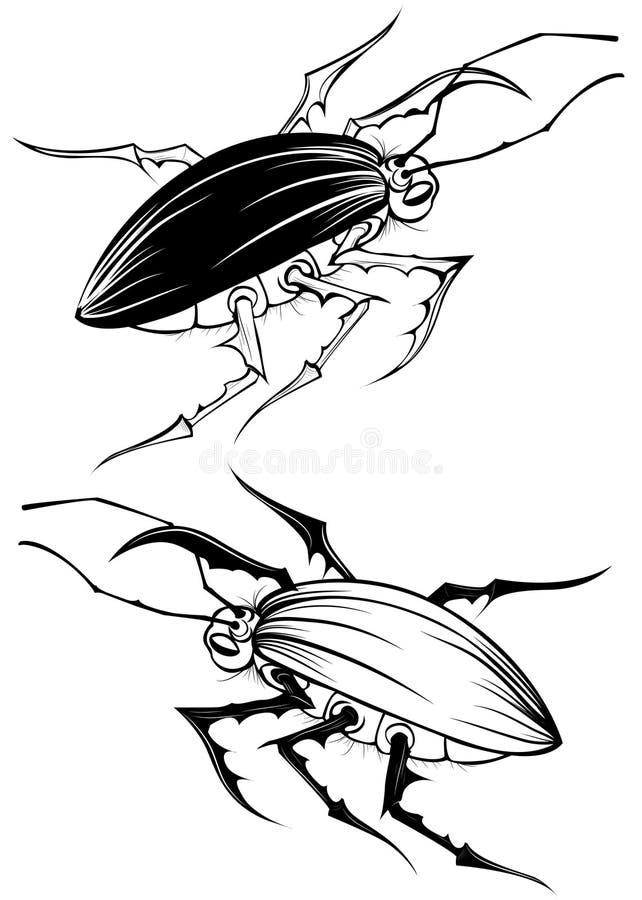 Scarabeo stilizzato due illustrazione vettoriale
