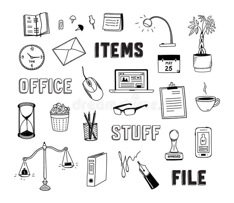 Scarabocchi degli oggetti business e dell'ufficio fissati royalty illustrazione gratis