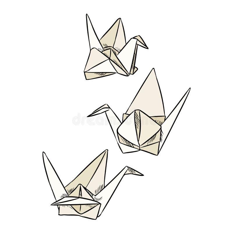 Scarabocchi del cigno della carta di origami Insieme geometrico dell'autoadesivo degli uccelli illustrazione di stock