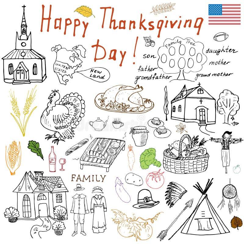 Scarabocchi di ringraziamento fissati I simboli tradizionali schizzano la raccolta, l'alimento, le bevande, il tacchino, la zucca illustrazione vettoriale