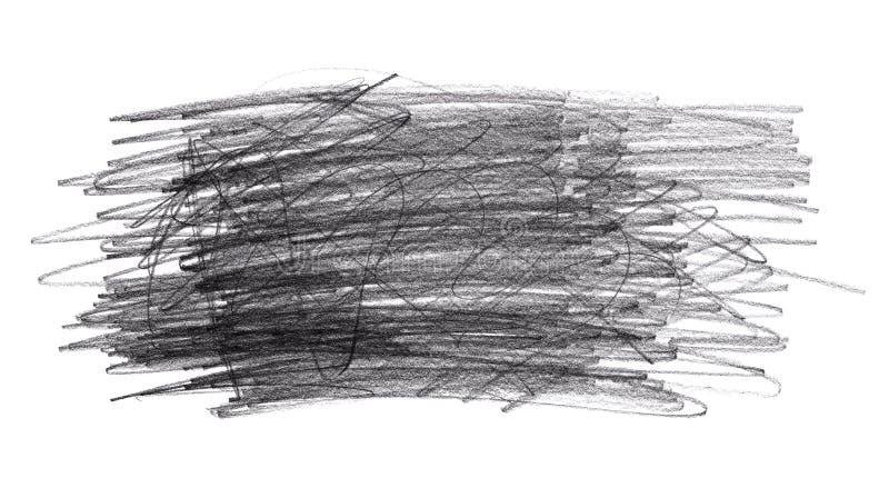 Scarabocchi di scarabocchio della matita isolati su fondo bianco immagine stock
