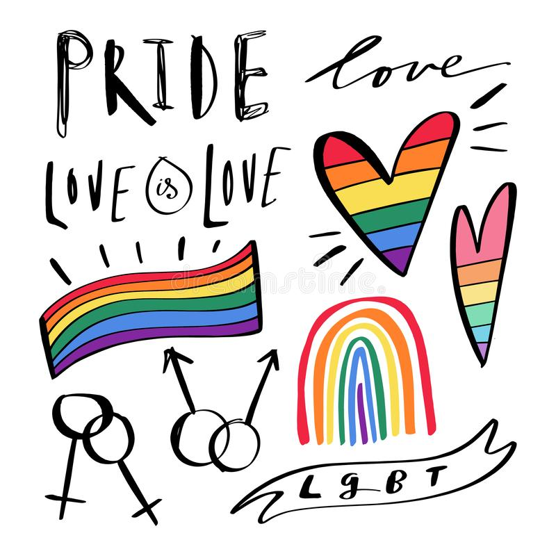 Scarabocchi disegnati a mano astratti di LGBT Iscrizione di orgoglio, di amore e di pace, cuori dell'arcobaleno Insieme delle ico illustrazione vettoriale