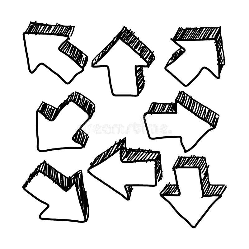 Scarabocchi disegnati a mano della freccia 3D illustrazione vettoriale