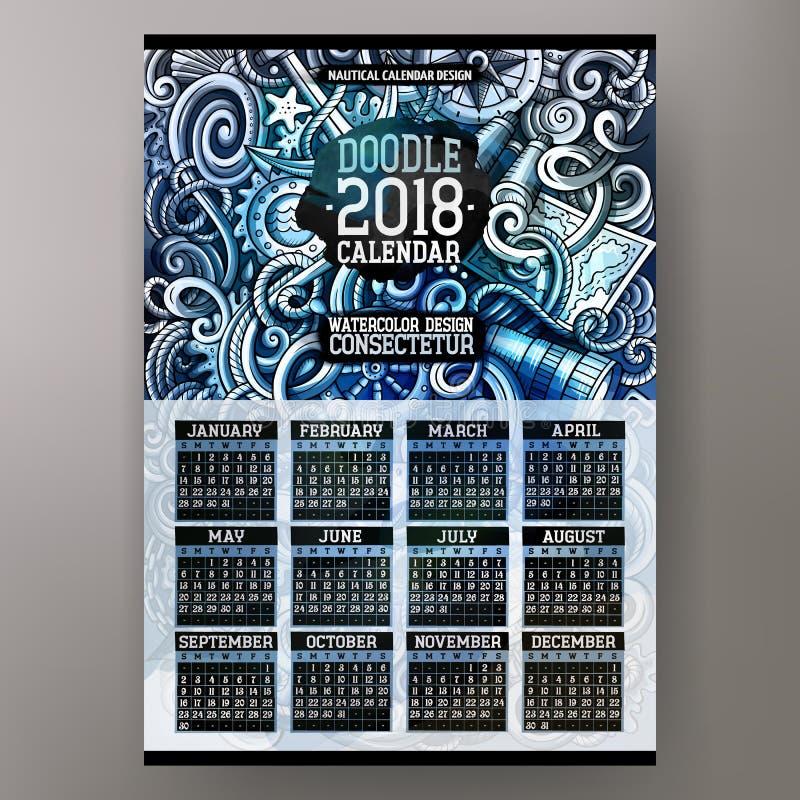 Scarabocchi disegnati a mano variopinti Nautica del fumetto un calendario da 2018 anni royalty illustrazione gratis