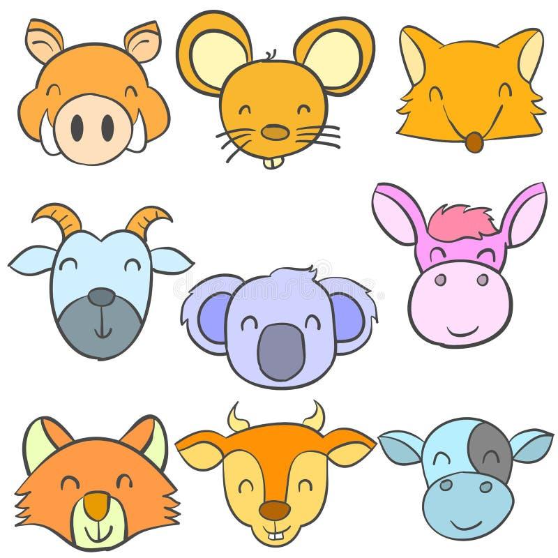 Scarabocchi divertenti svegli capi dell'animale royalty illustrazione gratis