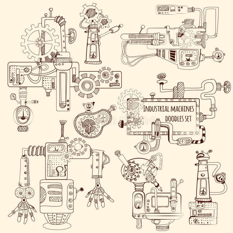 Scarabocchi industriali delle macchine fissati illustrazione di stock