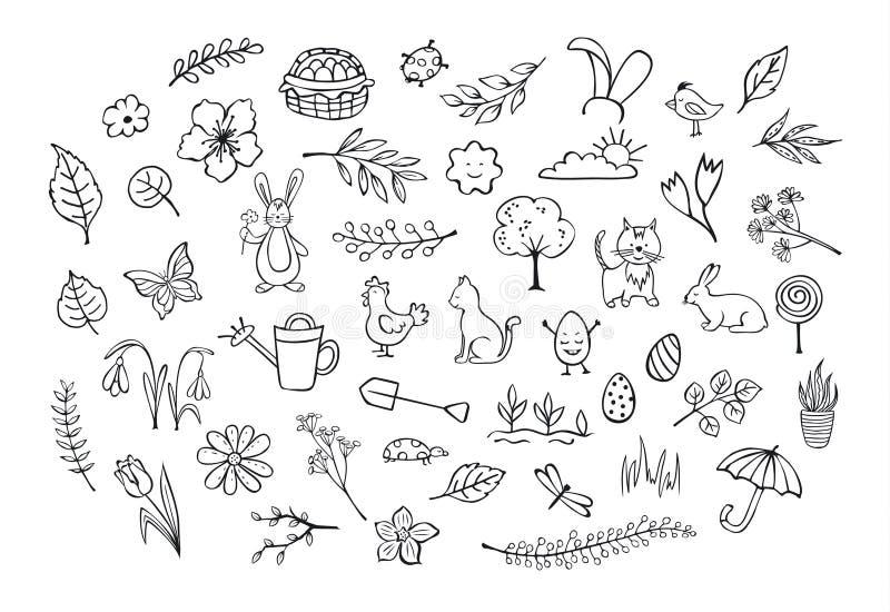 Scarabocchi infantili del simpe disegnato a mano descritti pasqua di primavera illustrazione vettoriale