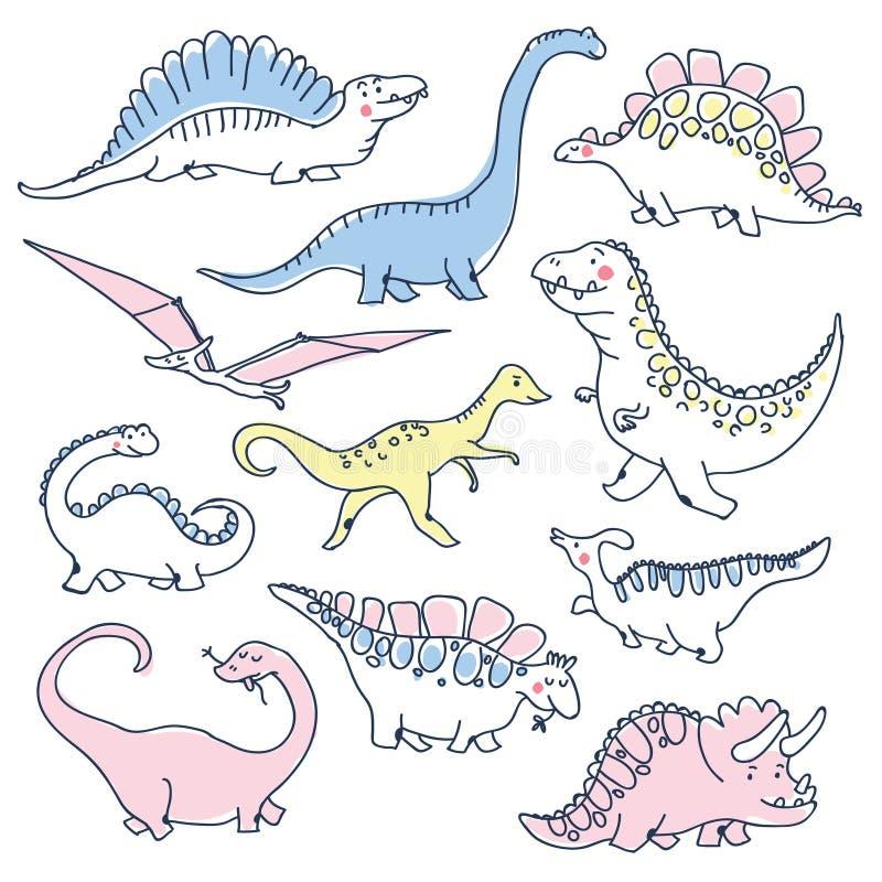 Scarabocchi svegli dei dinosauri fissati illustrazione vettoriale