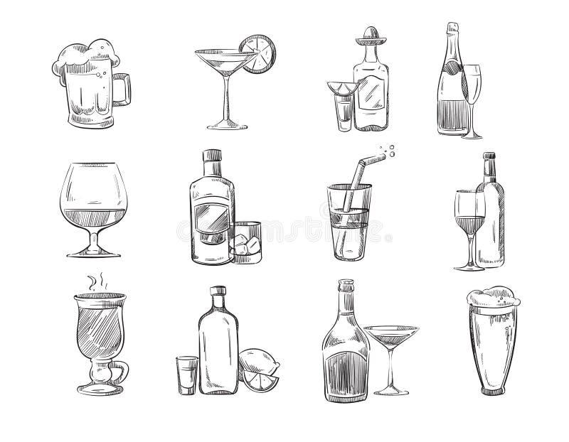 Scarabocchii i cocktail di schizzo e le bevande dell'alcool in vetro azione disegnate a mano di vettore illustrazione vettoriale