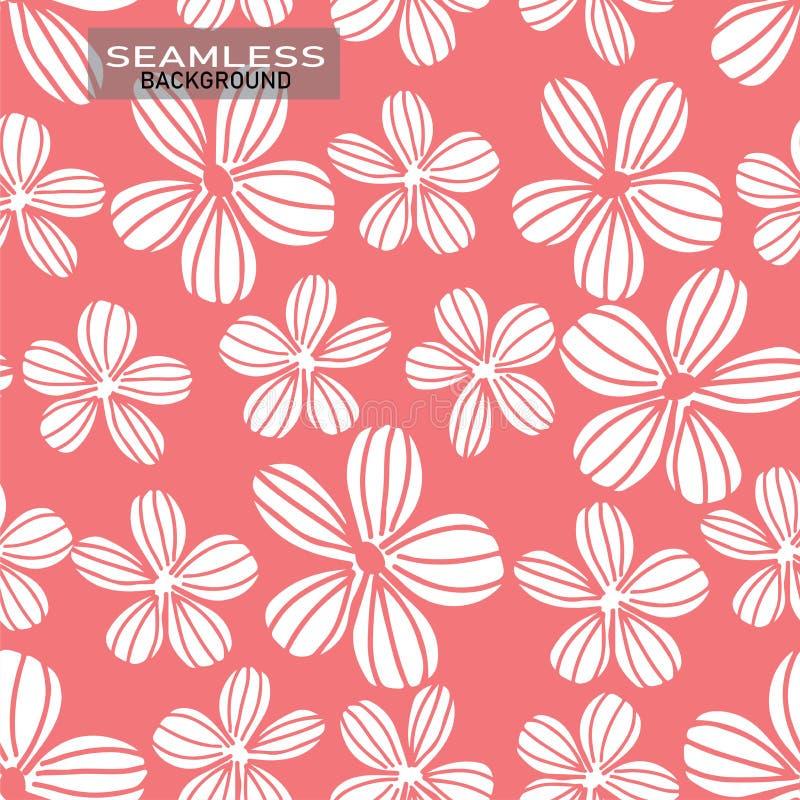 Scarabocchii i fiori bianchi di disegno della mano sull'idea senza cuciture del fondo di vettore del fondo di rosa pastello per s illustrazione vettoriale