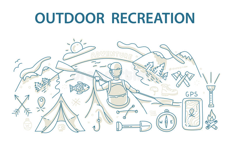 Scarabocchii il concetto di progetto di stile della ricreazione e del viaggio all'aperto illustrazione di stock