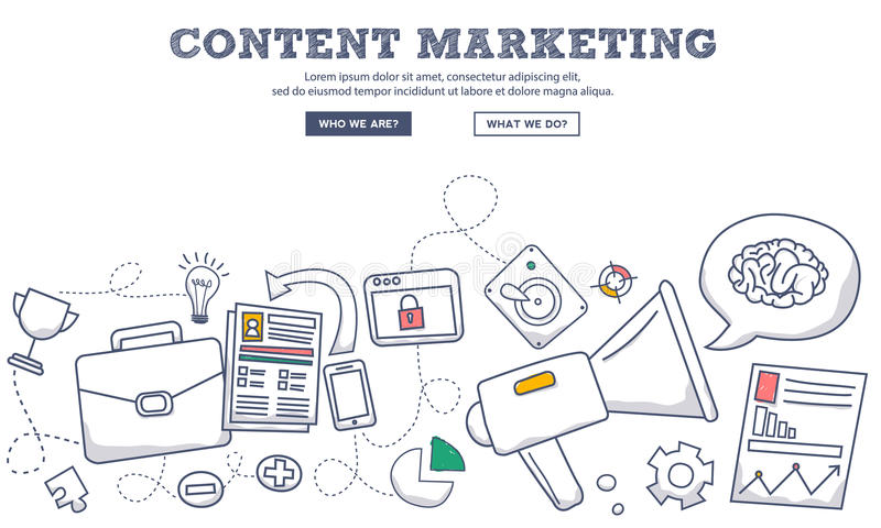 Scarabocchii il concetto di stile di progettazione dell'introduzione sul mercato contenta, dell'introduzione sul mercato e della  royalty illustrazione gratis