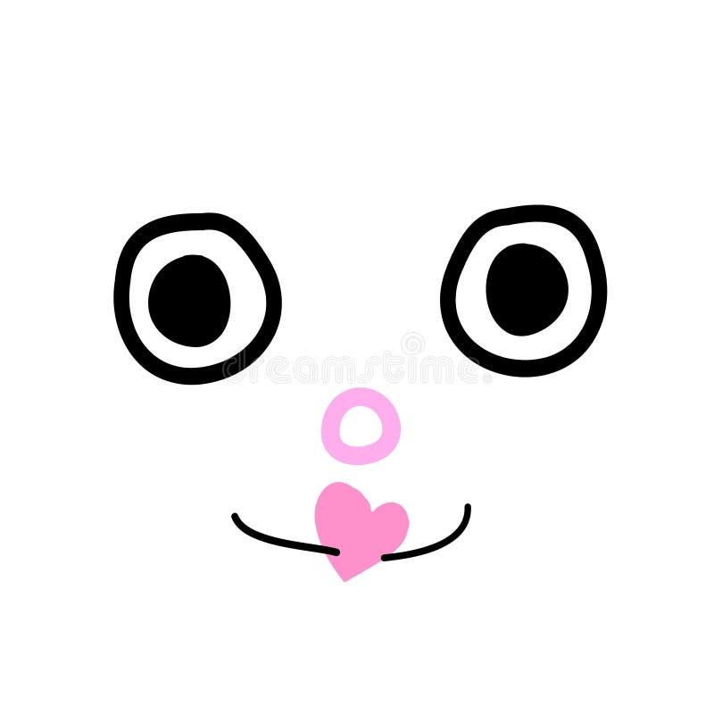 Scarabocchii il fronte con poco fumetto sveglio del cuore rosa illustrazione vettoriale