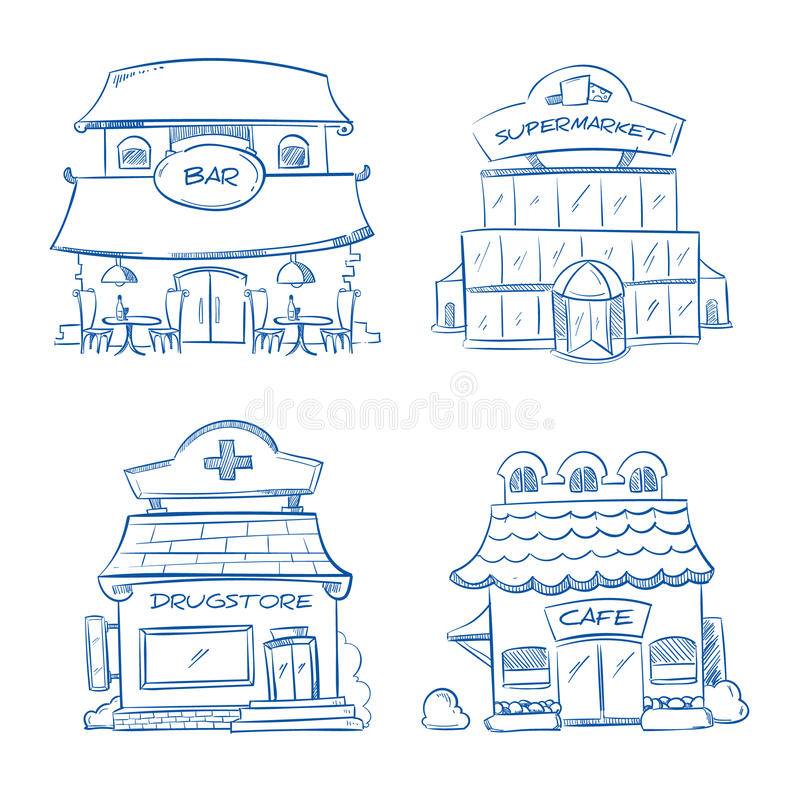 Scarabocchii la facciata della costruzione del negozio, la barra, il caffè, il centro commerciale, farmacia Illustrazione disegna illustrazione di stock