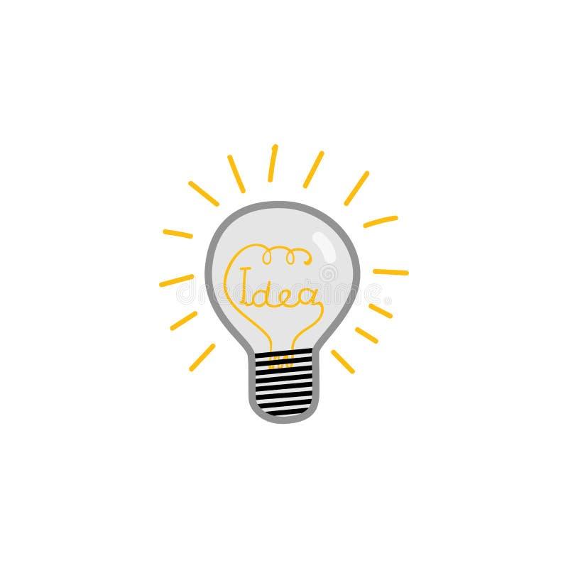 Scarabocchii la lampadina con la parola di idea all'interno di vetro e la luminescenza isolata su fondo bianco illustrazione di stock