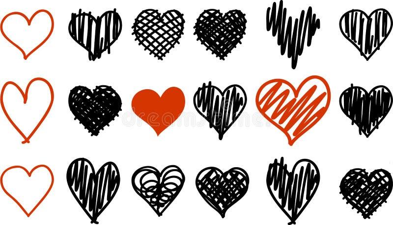 Scarabocchii le icone nere e rosse del cuore isolate sull'insieme bianco del fondo illustrazione vettoriale