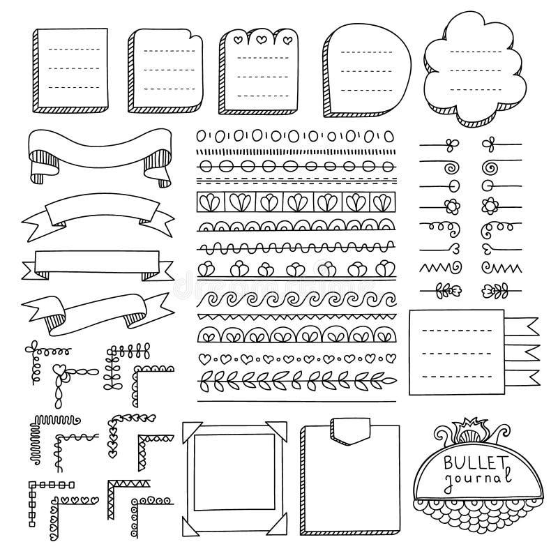 Scarabocchii le insegne ed altre elementi di progettazione per il giornale della pallottola illustrazione di stock