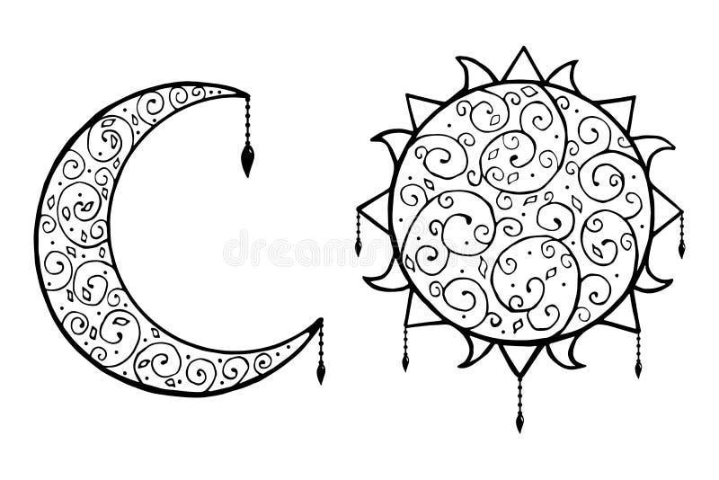 Scarabocchio decorativo, sole e luna con l'illustrazione isolata di vettore immagini stock libere da diritti
