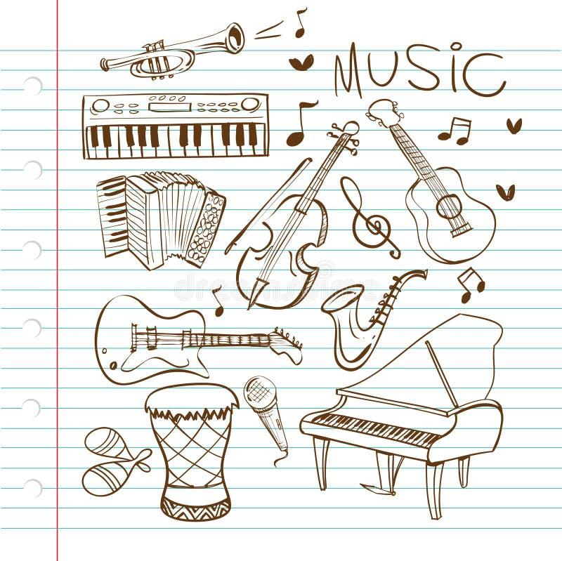 Scarabocchio degli strumenti di musica illustrazione vettoriale
