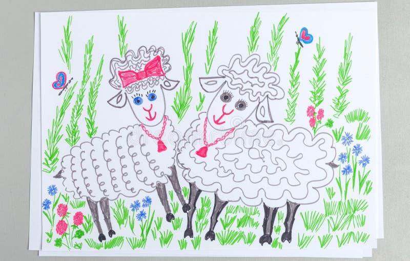 Scarabocchio del bambino delle coppie le pecore sveglie su prato inglese con erba verde ed i fiori illustrazione vettoriale