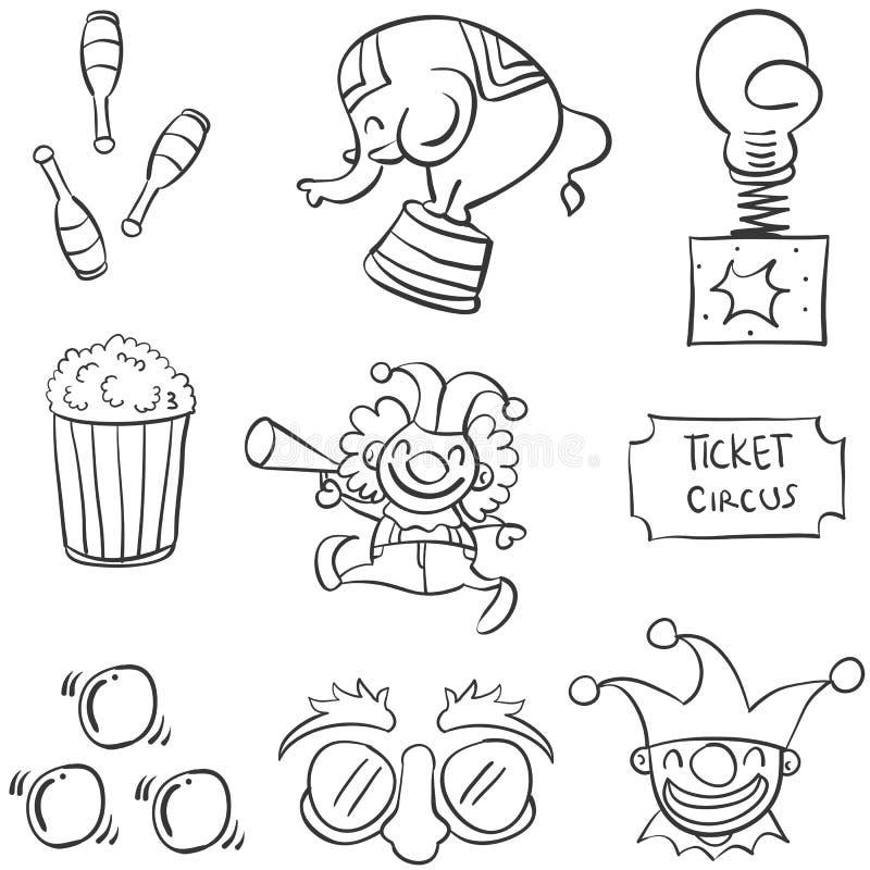 Scarabocchio del circo dell'elemento vario illustrazione vettoriale