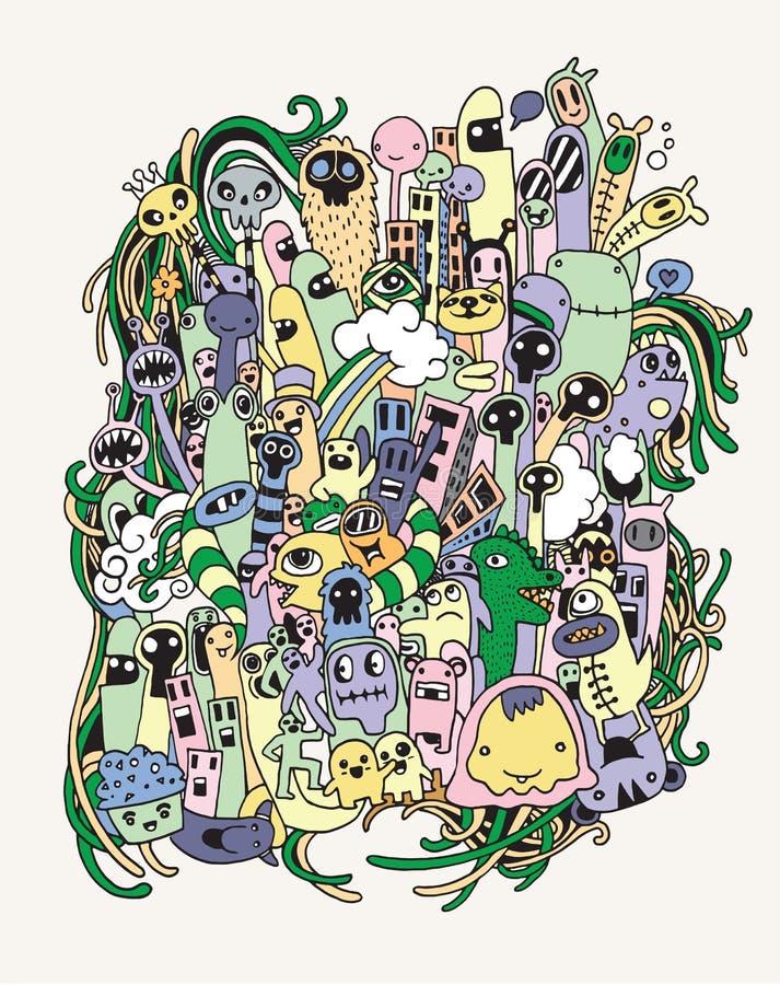 Scarabocchio del fumetto disegnato a mano dei mostri e degli stranieri illustrazione di stock