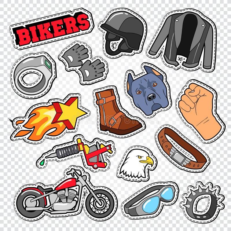 Scarabocchio del motociclista con il motociclo, gli occhiali da sole ed il casco Chopper Stickers, distintivi e toppe illustrazione di stock
