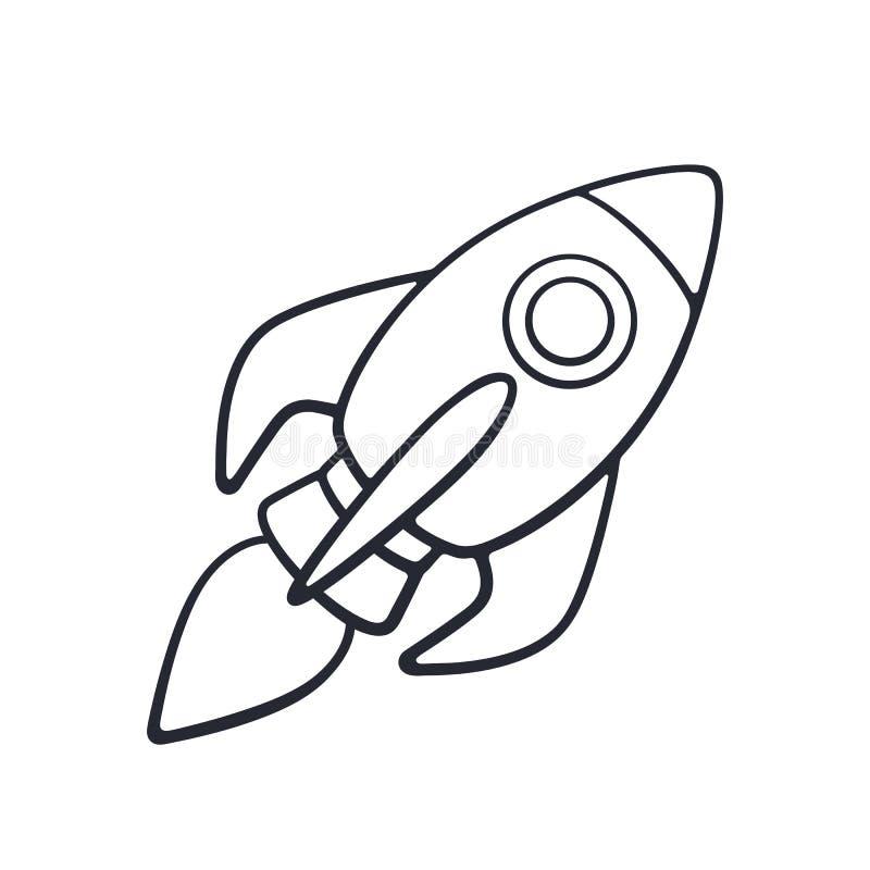 Scarabocchio del volo dell'astronave del razzo sul fondo bianco illustrazione vettoriale