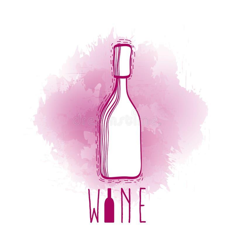 Scarabocchio della bottiglia di vino royalty illustrazione gratis