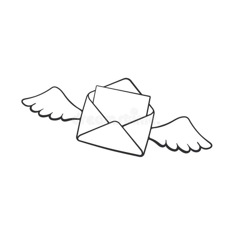 Scarabocchio della busta aperta volo con le ali illustrazione di stock