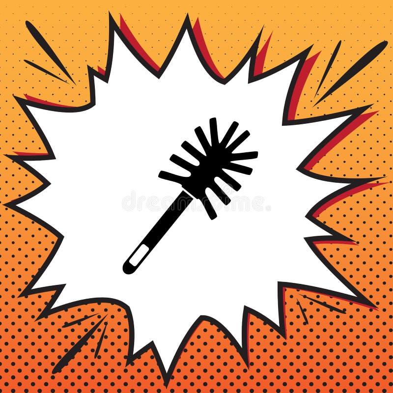Scarabocchio della spazzola della toilette Vettore Icona di stile dei fumetti sul backgr di Pop art illustrazione vettoriale