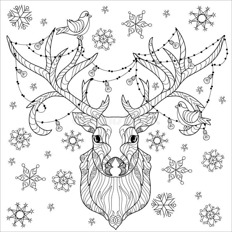 Scarabocchio della testa dei cervi di Natale royalty illustrazione gratis