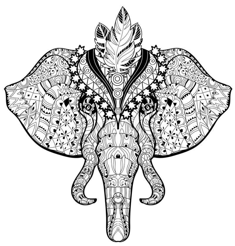 Scarabocchio della testa dell'elefante del circo sullo schizzo bianco illustrazione di stock