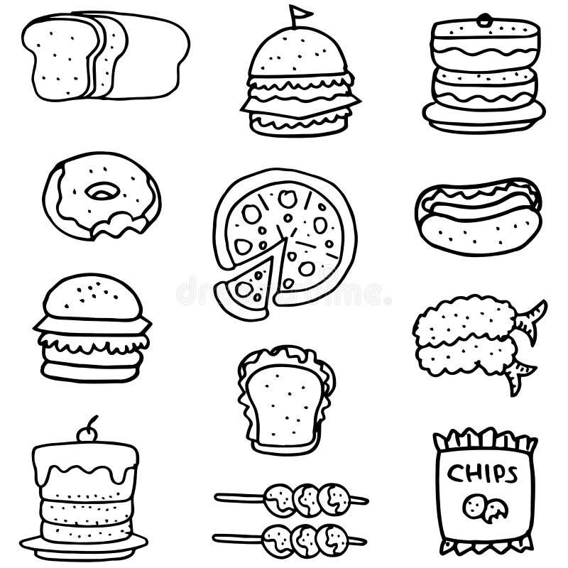 Scarabocchio di alimento con tiraggio della mano illustrazione di stock