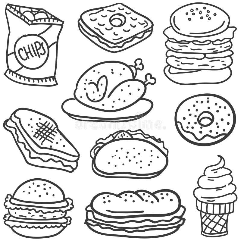 Scarabocchio di alimento con tiraggio della mano royalty illustrazione gratis