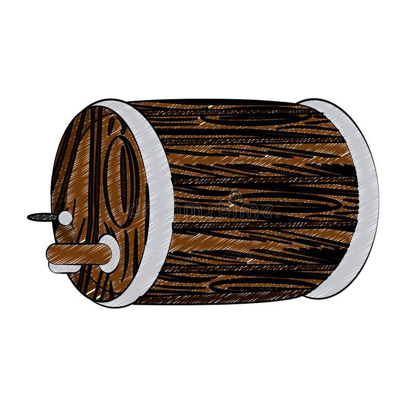 Scarabocchio di legno del barilotto di birra illustrazione vettoriale