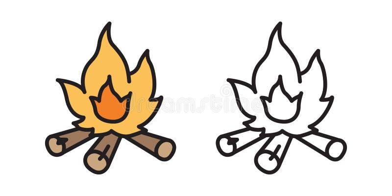 Scarabocchio di legno del fumetto dell'illustrazione dell'icona di logo della legna da ardere di vettore del ramo del fuoco illustrazione di stock