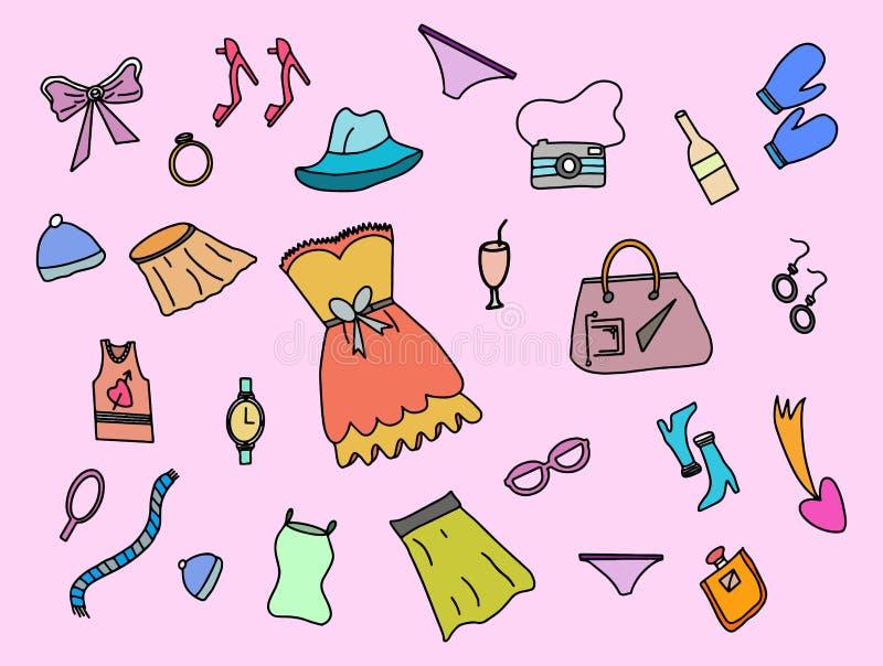Scarabocchio di modo delle donne con stile variopinto di colore ed il vettore rosa del fondo illustrazione vettoriale