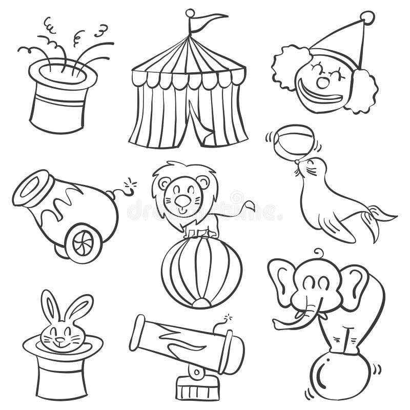 Scarabocchio di tiraggio della mano del circo illustrazione di stock