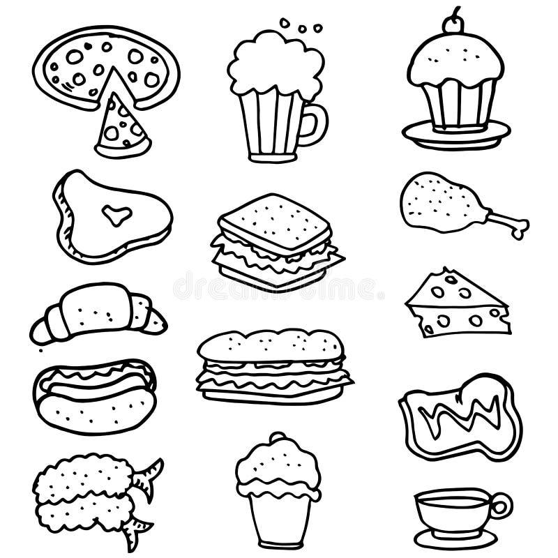 Scarabocchio di tiraggio della mano dell'oggetto dell'alimento illustrazione vettoriale