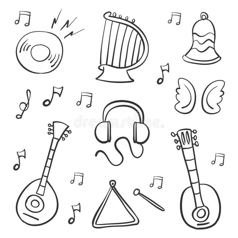 Scarabocchio di tiraggio della mano dell'oggetto di musica illustrazione vettoriale