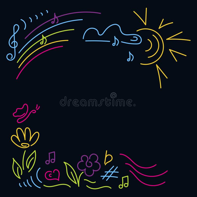 Scarabocchio disegnato a mano Concerto di musica del manifesto, festival Il partito dei bambini, classi di musica, partito della  illustrazione di stock