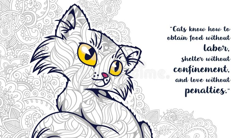 scarabocchio disegnato a mano del gatto del fumetto con la citazione per la pagina adulta di coloritura immagine stock