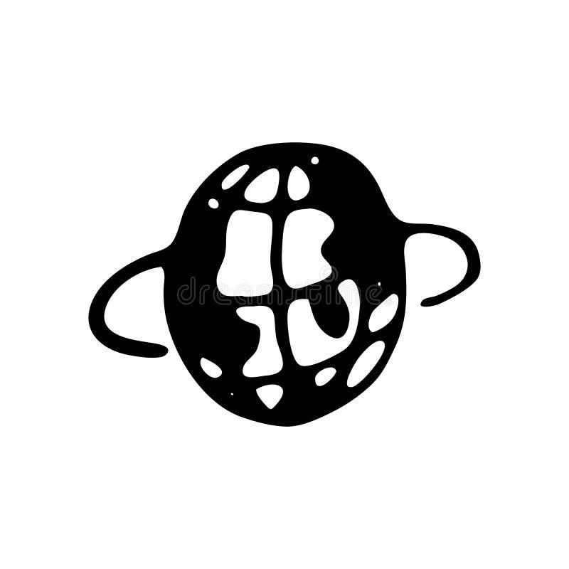 Scarabocchio disegnato a mano del pianeta Icona di stile di schizzo Elemento della decorazione illustrazione di stock