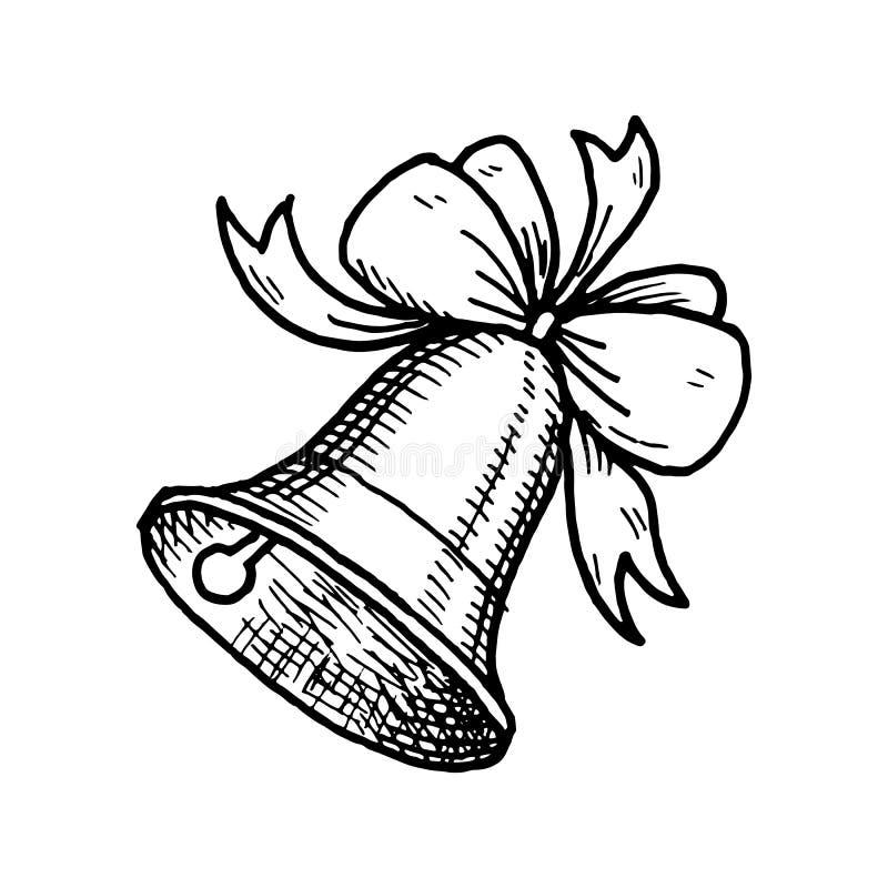 Scarabocchio disegnato a mano della campana di scuola Icona di stile di schizzo Elemento della decorazione Isolato su priorit? ba royalty illustrazione gratis