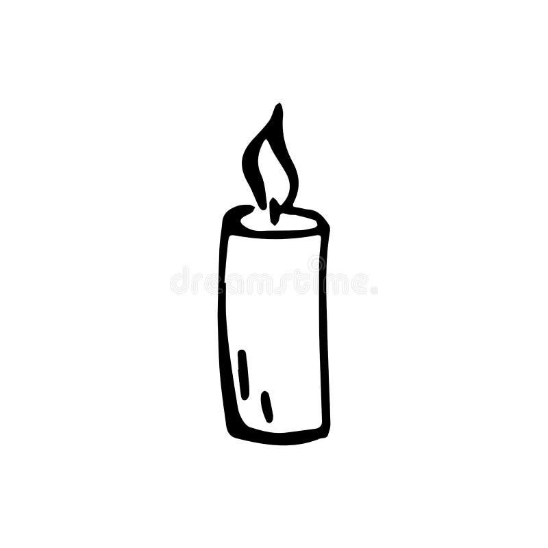 Scarabocchio disegnato a mano della candela Icona di stile di schizzo Elemento della decorazione royalty illustrazione gratis