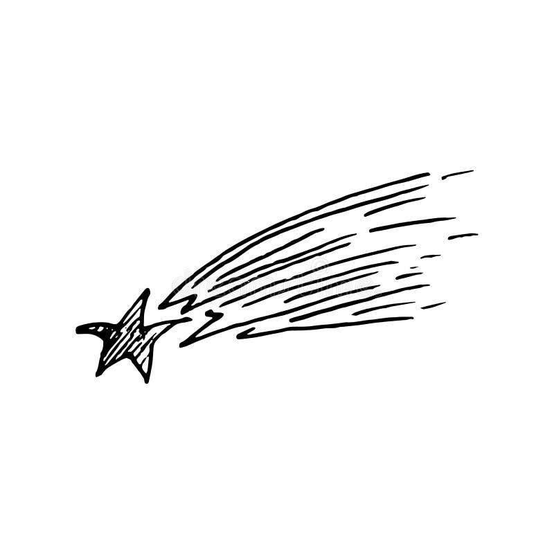 Scarabocchio disegnato a mano della cometa Icona di stile di schizzo Elemento della decorazione royalty illustrazione gratis