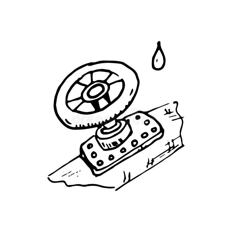 Scarabocchio disegnato a mano della conduttura Icona di stile di schizzo Elemen della decorazione illustrazione vettoriale
