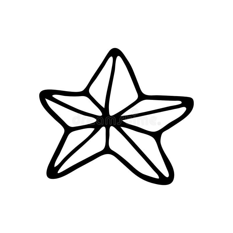 Scarabocchio disegnato a mano della stella Icona di inverno di schizzo Elemento della decorazione Isolato su priorità bassa bianc illustrazione vettoriale