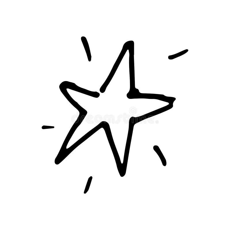Scarabocchio disegnato a mano della stella Icona di stile di schizzo Elemento della decorazione I illustrazione di stock